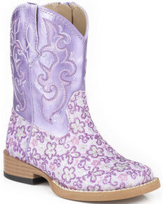 Roper Infant's Floral Glitter Square Toe Western Boots, Purple, hi-res