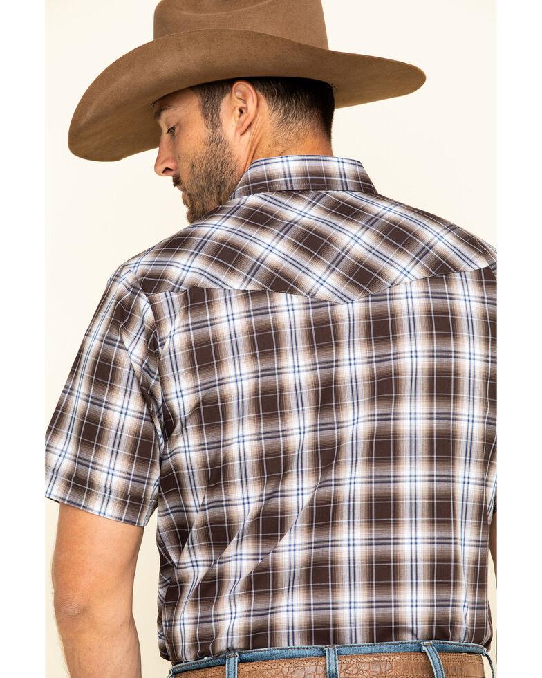 Ely Cattleman Men's Brown Textured Plaid Short Sleeve Western Shirt - Tall , Brown, hi-res