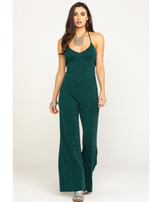 Luna Chix Women's Green Metallic Jumpsuit , Green, hi-res