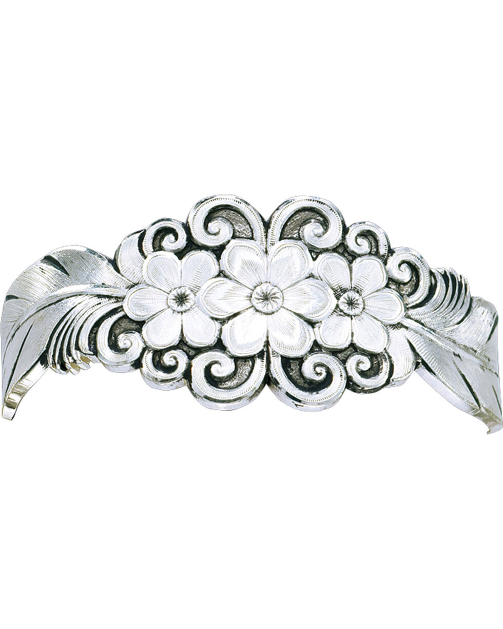 Montana Silversmiths Silver Flower & Feather Cuff Bracelet, Silver, hi-res