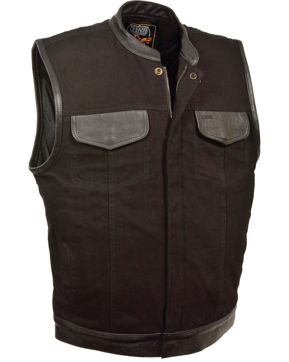 Milwaukee Leather Men's Black Denim Leather Trim Club Style Vest , Black, hi-res