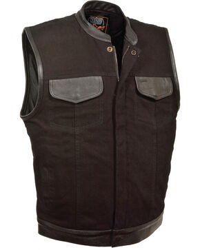 Milwaukee Leather Men's Black Denim Leather Trim Club Style Vest - Big 3X, Black, hi-res
