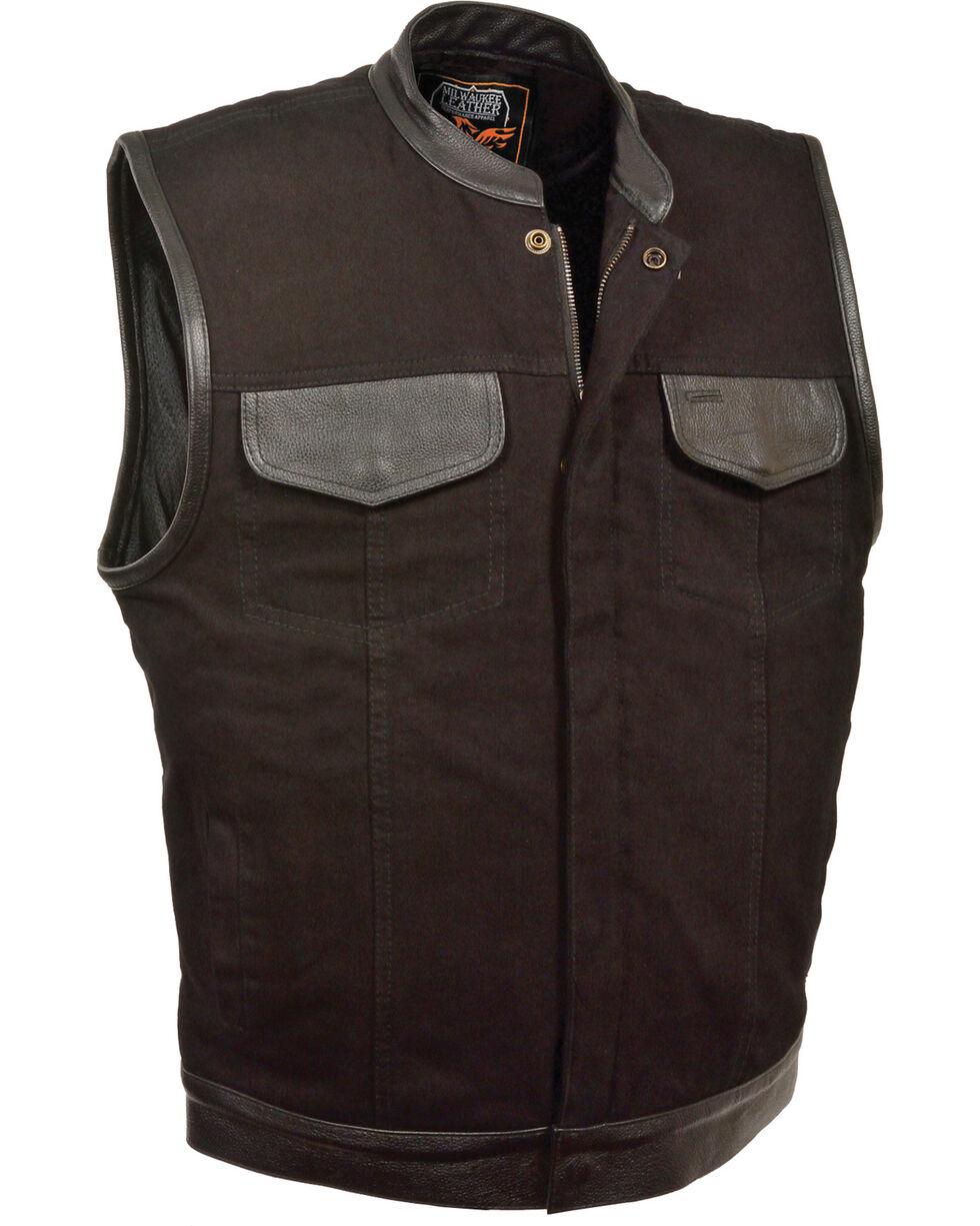 Milwaukee Leather Men's Black Denim Leather Trim Club Style Vest - Big 5X, Black, hi-res