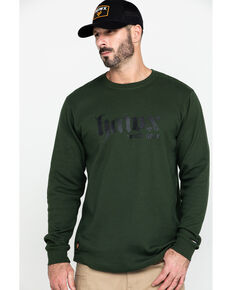 Hawx Men's Green Graphic Thermal Long Sleeve Work T-Shirt - Tall , Green, hi-res
