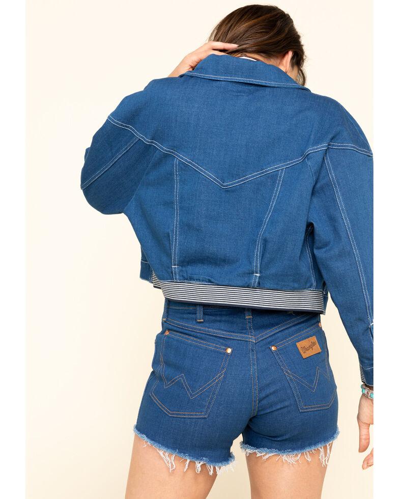 Wrangler Modern Women's Crop Rinse Denim Jacket , Blue, hi-res