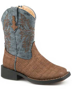 Roper Boys' Adelia Western Boots - Square Toe, Brown, hi-res