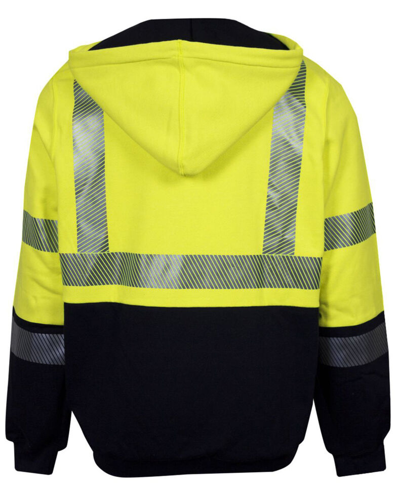 National Safety Apparel Men's 3X FR Hi-Vis Hybrid Zip Front Hooded Work Jacket - Big , Bright Yellow, hi-res