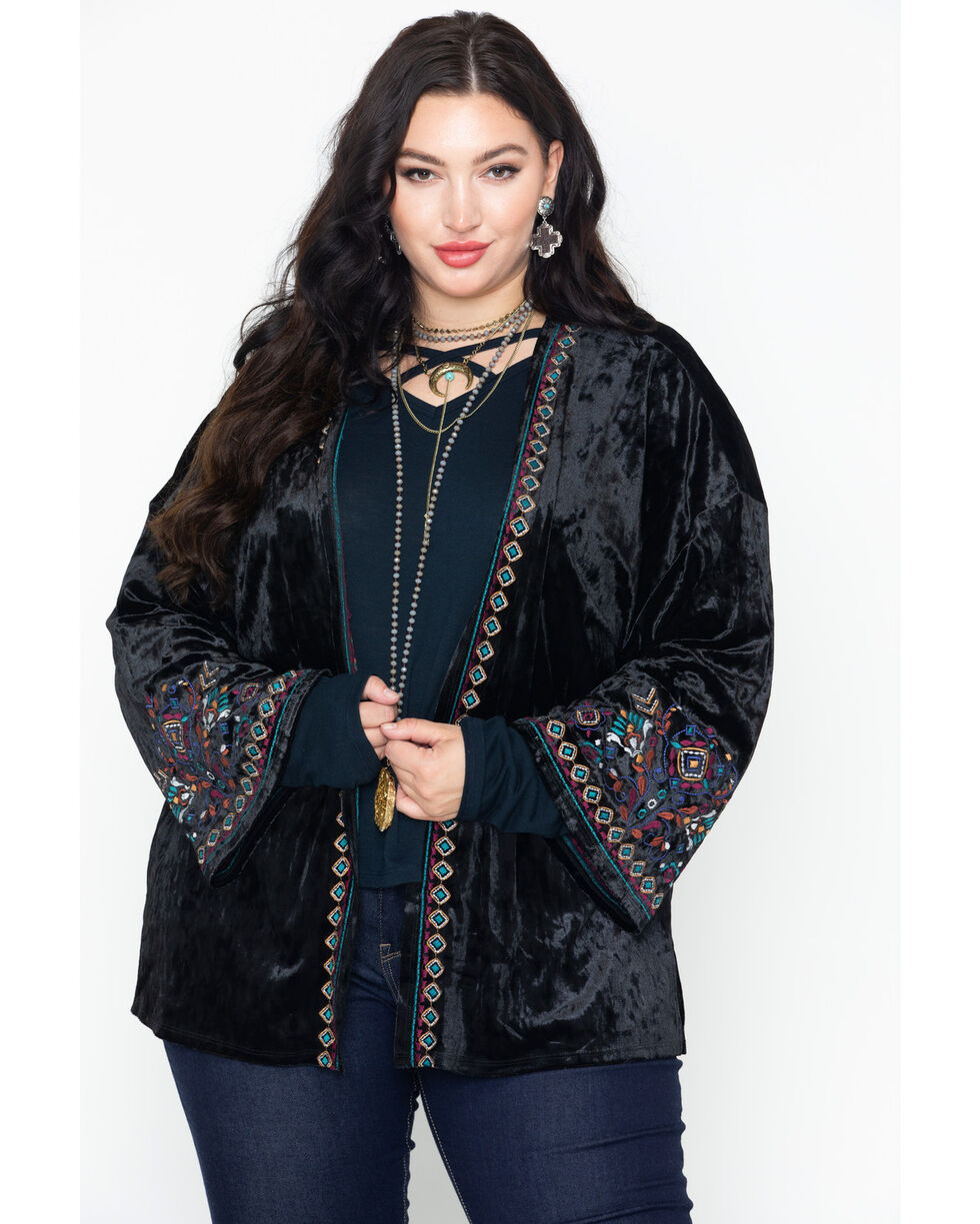 Eyeshadow Women's Aztec Velvet Boho Embroidered Long Sleeve Kimono - Plus Size, Black, hi-res
