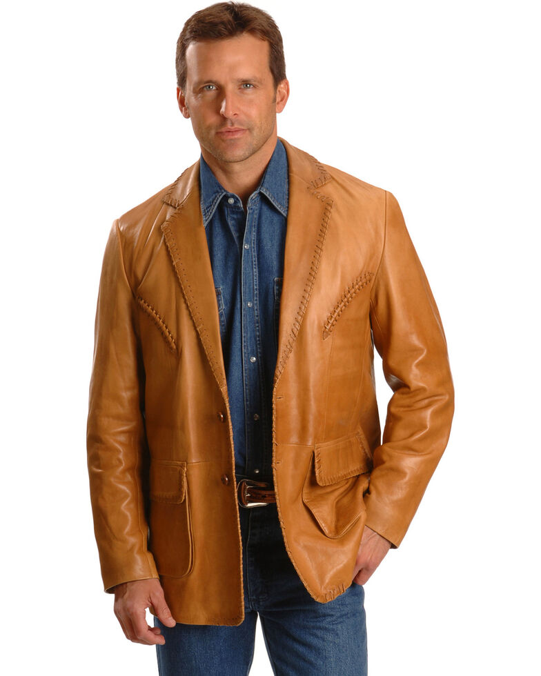 Scully Whipstitch Lambskin Leather Blazer - Big & Tall, Tan, hi-res