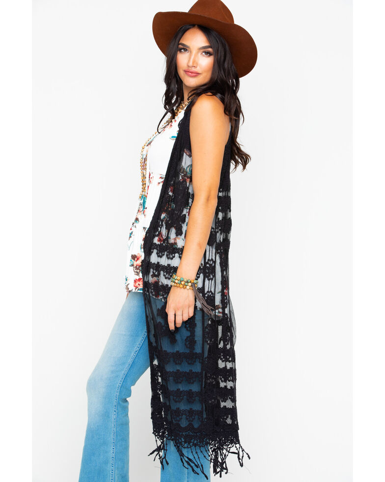 Panhandle Women's Solid Lace Fringe Open Sleeveless Duster , Black, hi-res