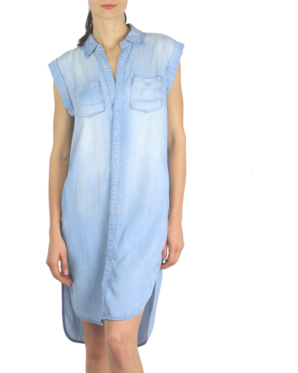Tractr Blu Women's Hi Low Shirt Dress , Indigo, hi-res