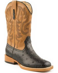 Roper Youth Ostrich Print Western Boots, Black, hi-res