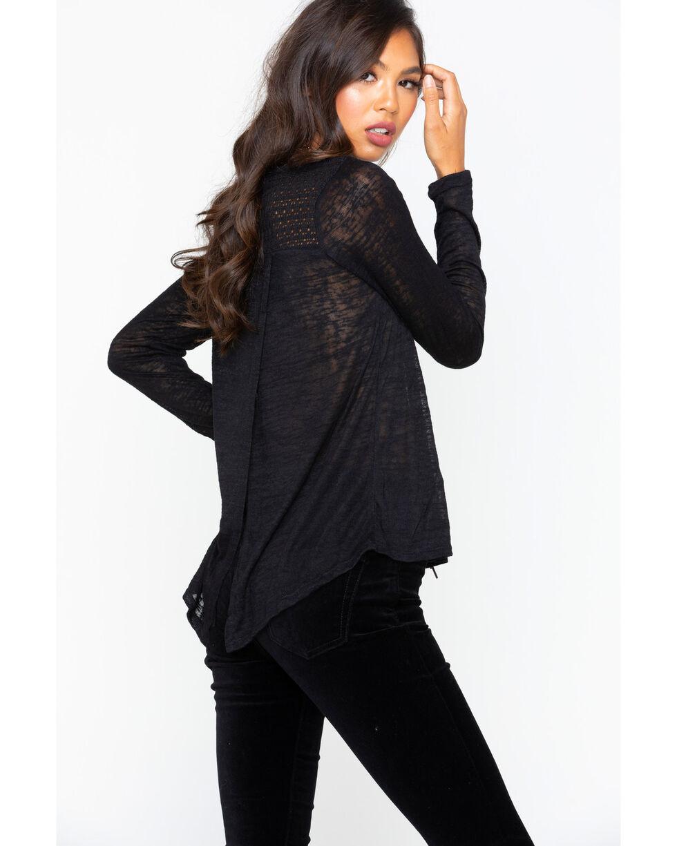 Panhandle Women's Slub Knit Open Back Top , Black, hi-res