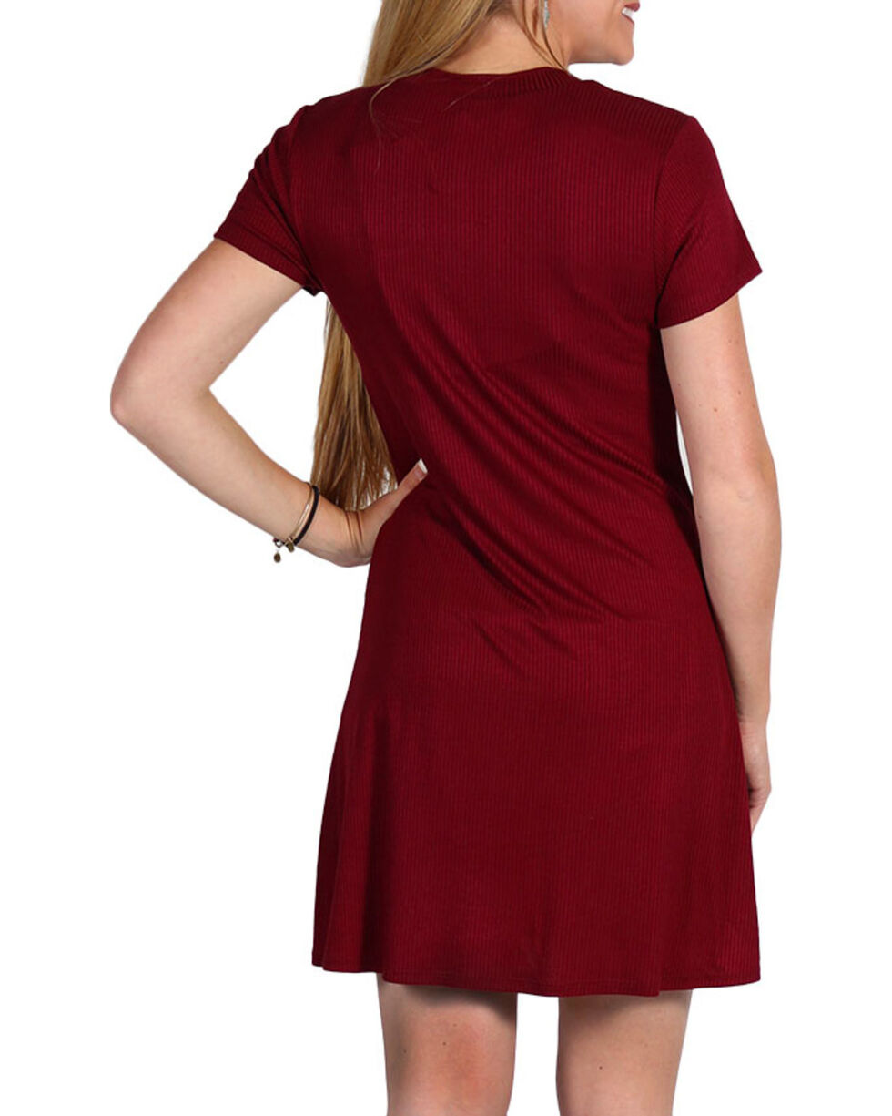 Luna Chix Women's Lace-Up Dress, Burgundy, hi-res
