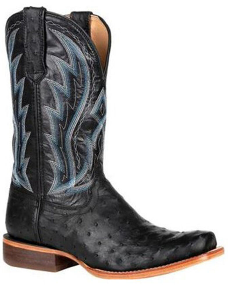 Durango Men's Black Exotic Full-Quill Ostrich Western Boots - Square Toe, Black, hi-res