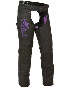 Milwaukee Leather Women's Reflective Tribal Embroidered Textile Chaps, Black/purple, hi-res
