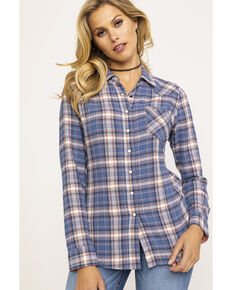 2c37eb8bd6b Shyanne Life Women s Blue Plaid Woven Core Long Sleeve Western Shirt
