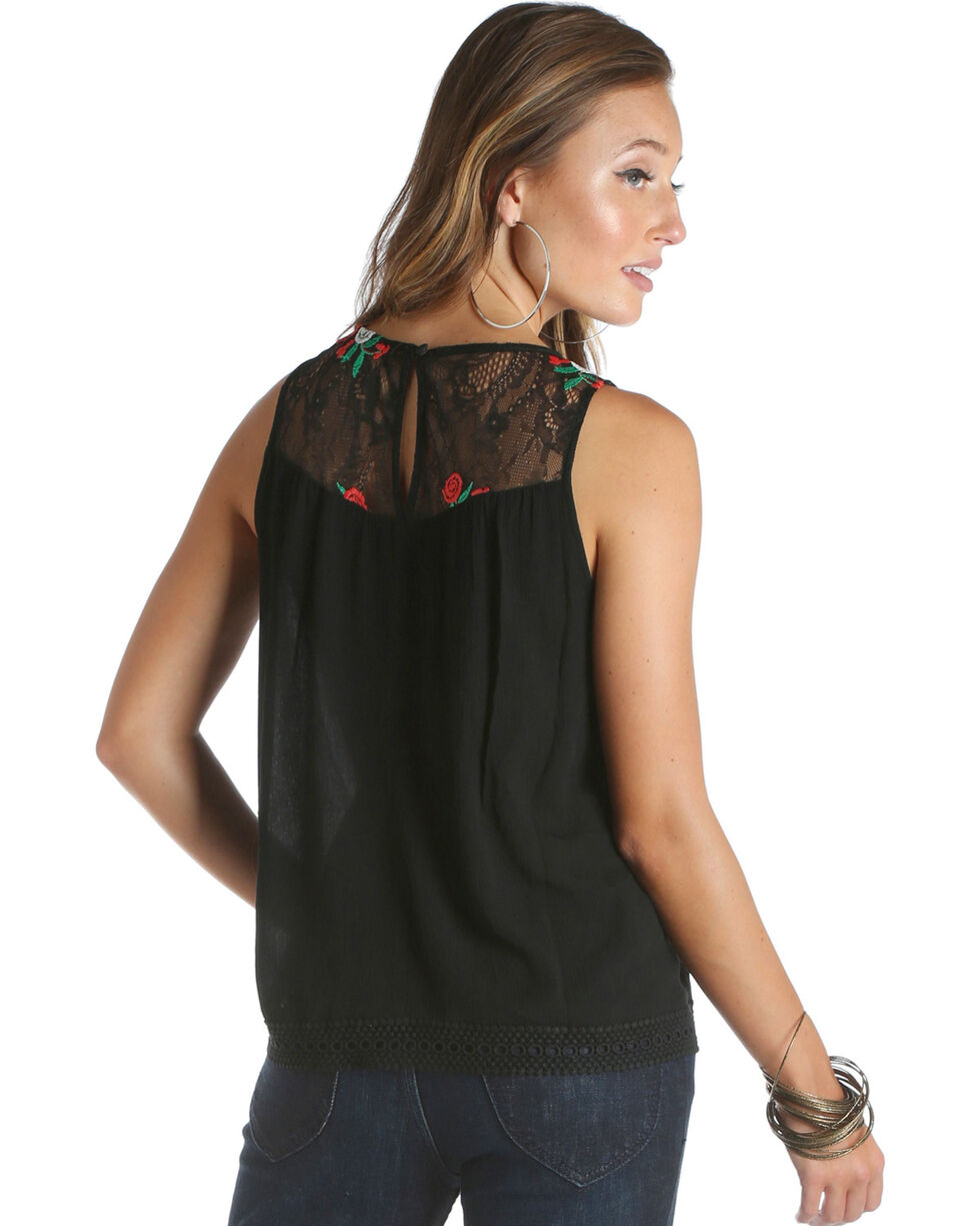 Wrangler Women's Black Embroidered Lace Yoke Top , Black, hi-res
