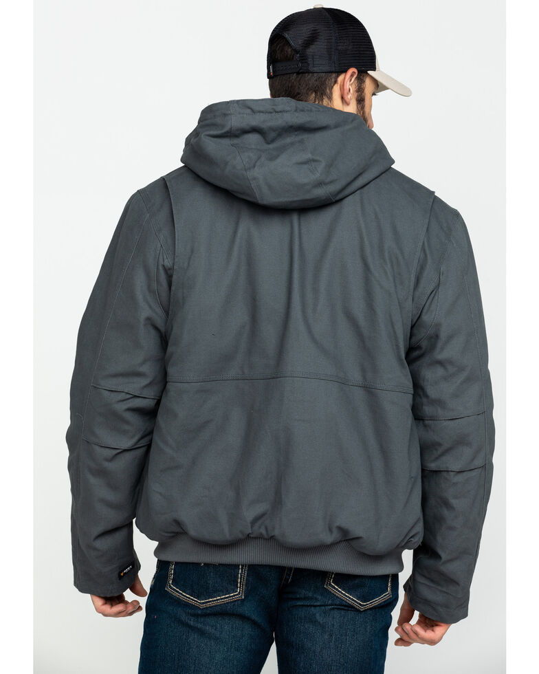 Hawx Men's Shadow Grey Canvas Quilted Bi-Swing Hooded Zip Front Jacket - Tall , Dark Grey, hi-res