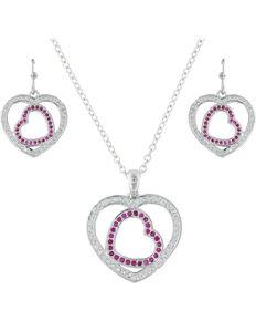 Montana Silversmiths Women's Silver Love's First Blush Heart Jewelry Set , Silver, hi-res