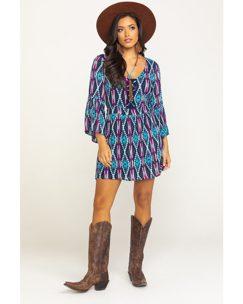 Rock & Roll Cowgirl Women's Criss Cross Lace Up Printed Dress, Multi, hi-res