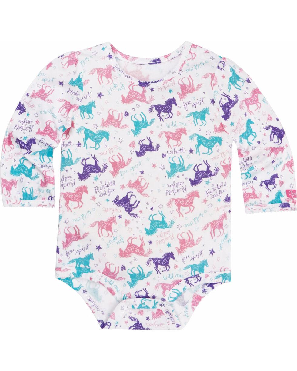 Carhartt Infant Girls' Run Wild and Free Bodyshirt, White, hi-res
