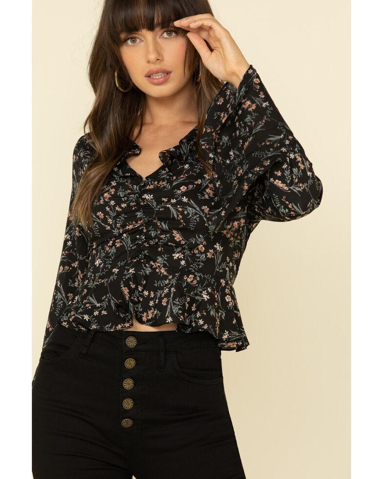 Very J Women's Floral Print Ruffle Bell Sleeve Peasant Top , Black, hi-res
