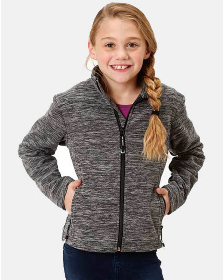 Roper Girls' Micro Fleece Jacket, Black, hi-res
