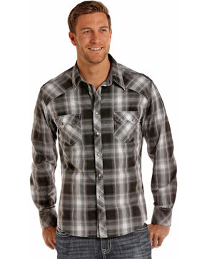 Rock & Roll Cowboy Men's Black Crinkle Plaid Shirt , Black, hi-res