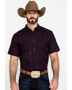 Gibson Men's Picket Fence Plaid Short Sleeve Western Shirt , Maroon, hi-res