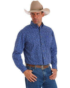 George Strait by Wrangler Men's Paisley Print Long Sleeve Western Shirt - Tall, Blue, hi-res
