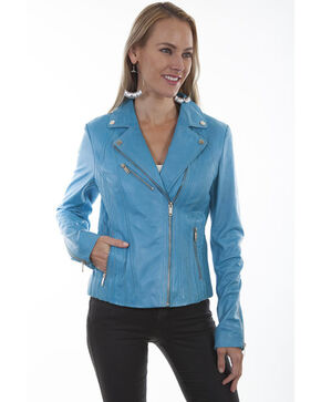 Leatherwear by Scully Women's Sky Blue Motorcycle Jacket, Light Blue, hi-res