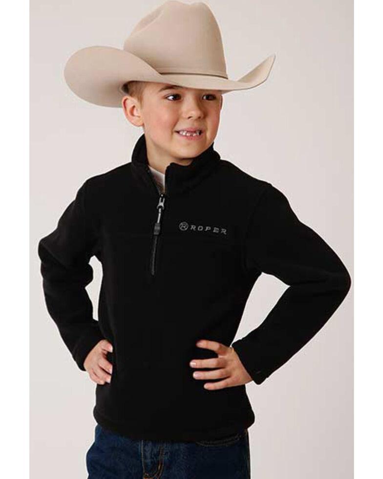 Roper Boys' Black Lightweight Micro Fleece 1/4 Zip Pullover Jacket , Black, hi-res