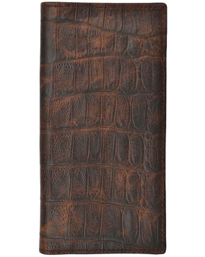 3D Men's Croc Embossed Basic Rodeo Wallet, Brown, hi-res