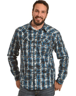 Moonshine Spirit Men's Tattoo Paisley Plaid Western Shirt, Turquoise, hi-res