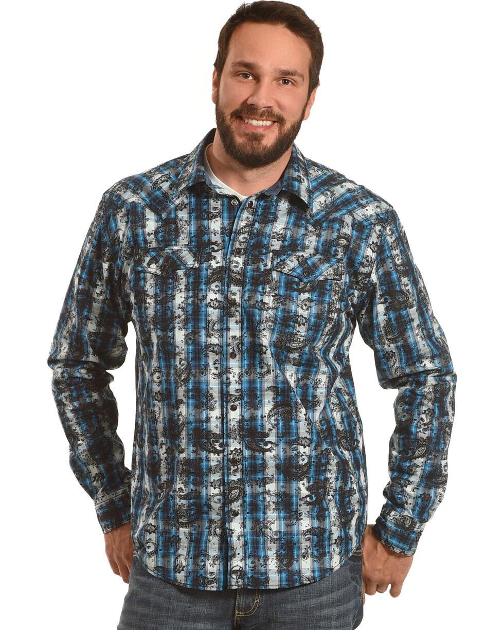 Moonshine Spirit Men's Tattoo Paisley Plaid Western Shirt, Turquoise, hi-res