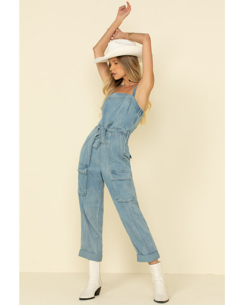 Free People Women's Go West Light Wash Denim Utility Jumpsuit , Blue, hi-res