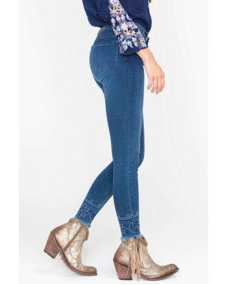 Tractr Blu Women's Embroidered Fray Hem Skinny Jeans , Indigo, hi-res
