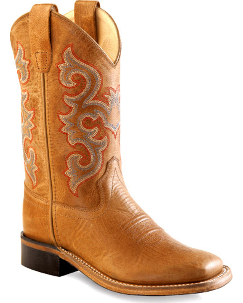 Old West Tan Youth Cowboy Boots - Square Toe , Tan, hi-res