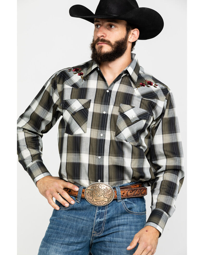 Ely Cattleman Men's Assorted Embroidered Multi Large Plaid Long Sleeve Western Shirt , Multi, hi-res