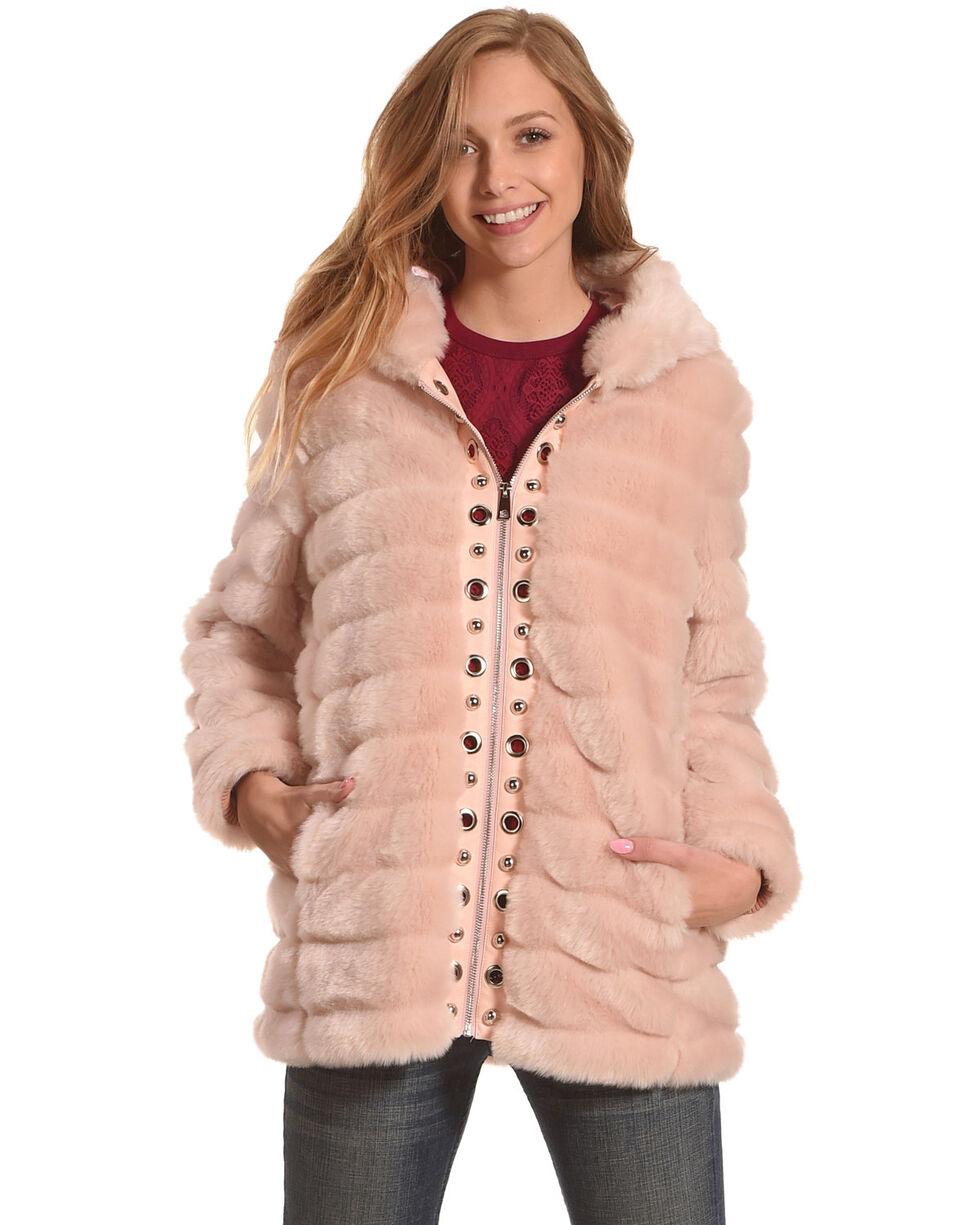 Tesoro Moda Women's Pink Faux Fur Grommets Jacket , Pink, hi-res