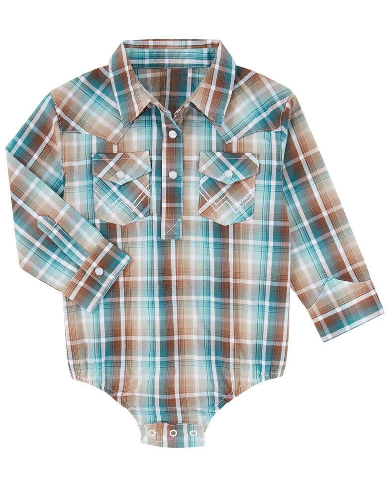 Wrangler Infant Boys' Teal Plaid Long Sleeve Snap Onesie , Orange, hi-res