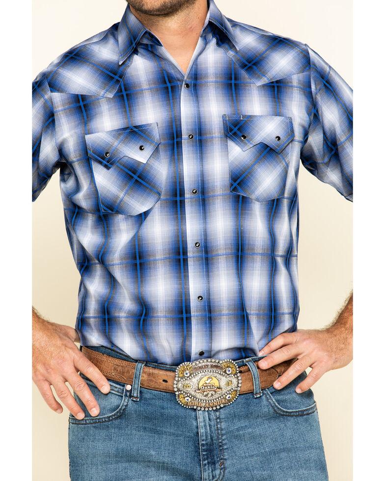 Ely Cattleman Men's Navy Dobby Plaid Short Sleeve Western Shirt, Navy, hi-res