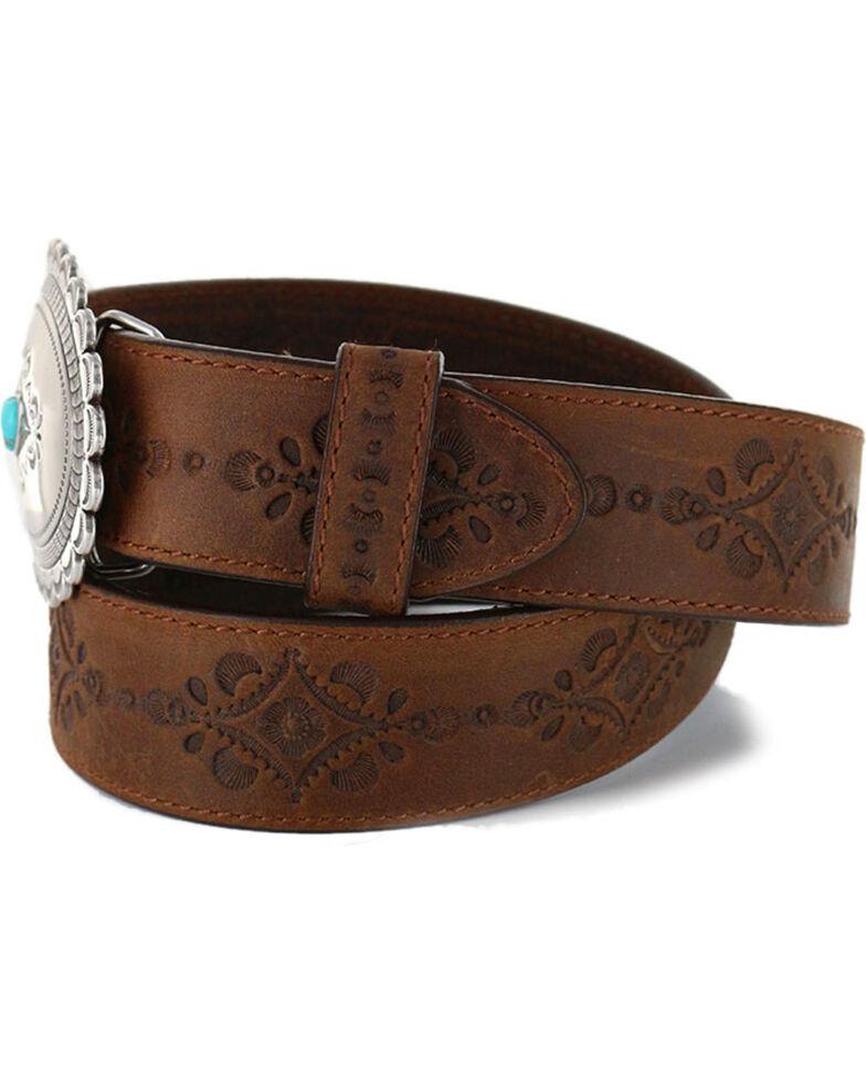 Justin Women's Navajo Heart Leather Belt, Bark, hi-res