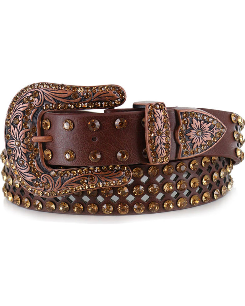 Shyanne Women's Brown Bling Belt, Brown, hi-res