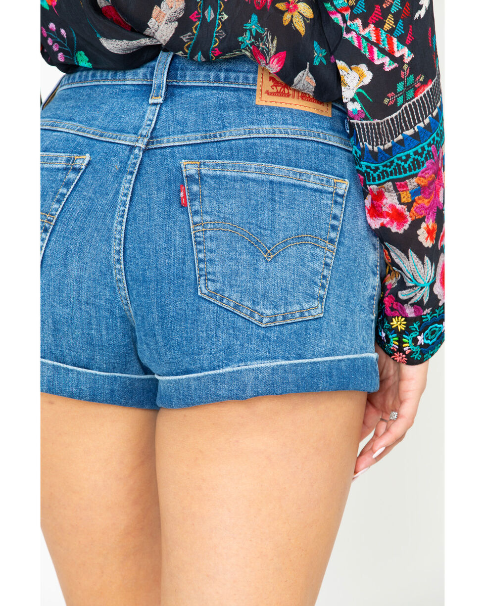 Levi's Women's Just The Ticket Medium Wash Mom High Rise Shorts, Blue, hi-res