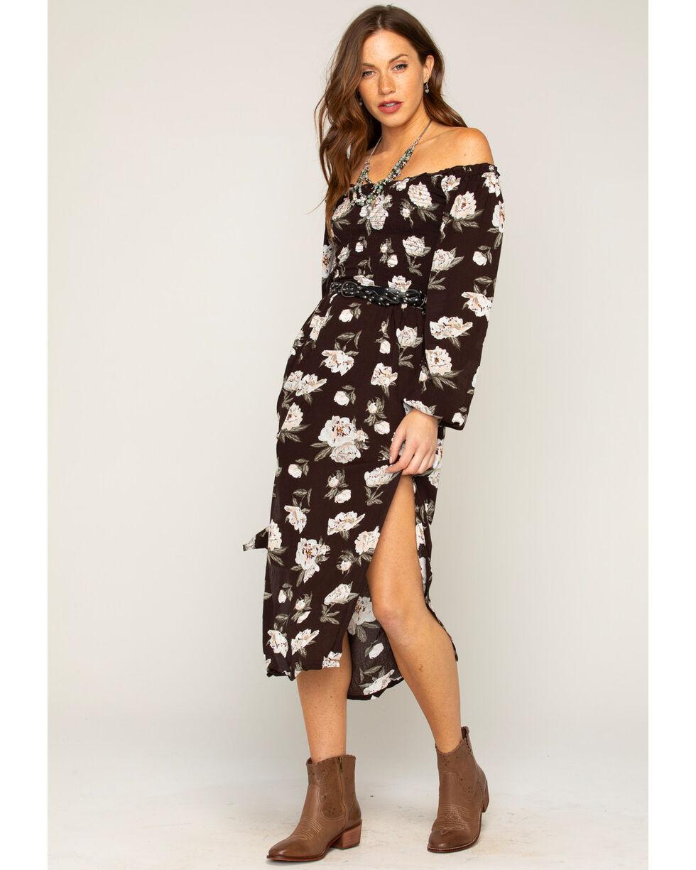 Shyanne® Women's Floral Off The Shoulder Maxi Dress, Black, hi-res