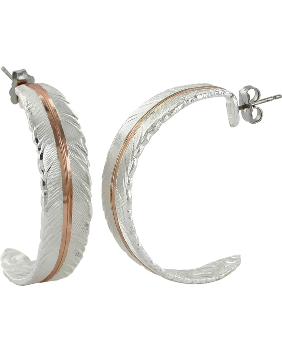 Montana Silversmiths Women's Silver Feather Vein Hoop Earrings , Silver, hi-res