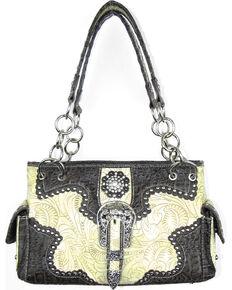 Savana Women's Concealed Carry with Tooled Design Handbag, Ivory, hi-res