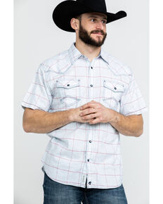 Moonshine Spirit Men's Spectacle Large Plaid Short Sleeve Western Shirt , Light Blue, hi-res